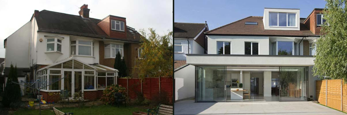 Kew Gardens residential extension before and after